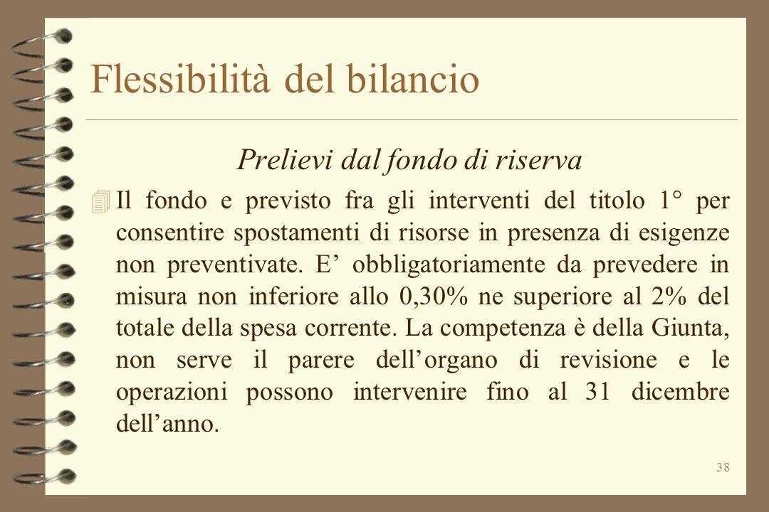 38 Flessibilità del bilancio Prelievi dal fondo di riserva 4 Il fondo e previsto fra gli interventi del titolo 1° per consentire spostamenti di risors