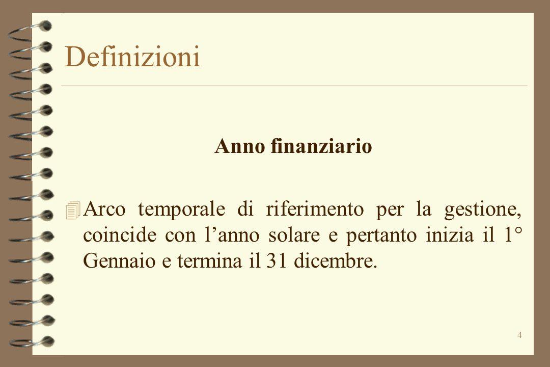 4 Definizioni Anno finanziario 4 Arco temporale di riferimento per la gestione, coincide con l'anno solare e pertanto inizia il 1° Gennaio e termina i