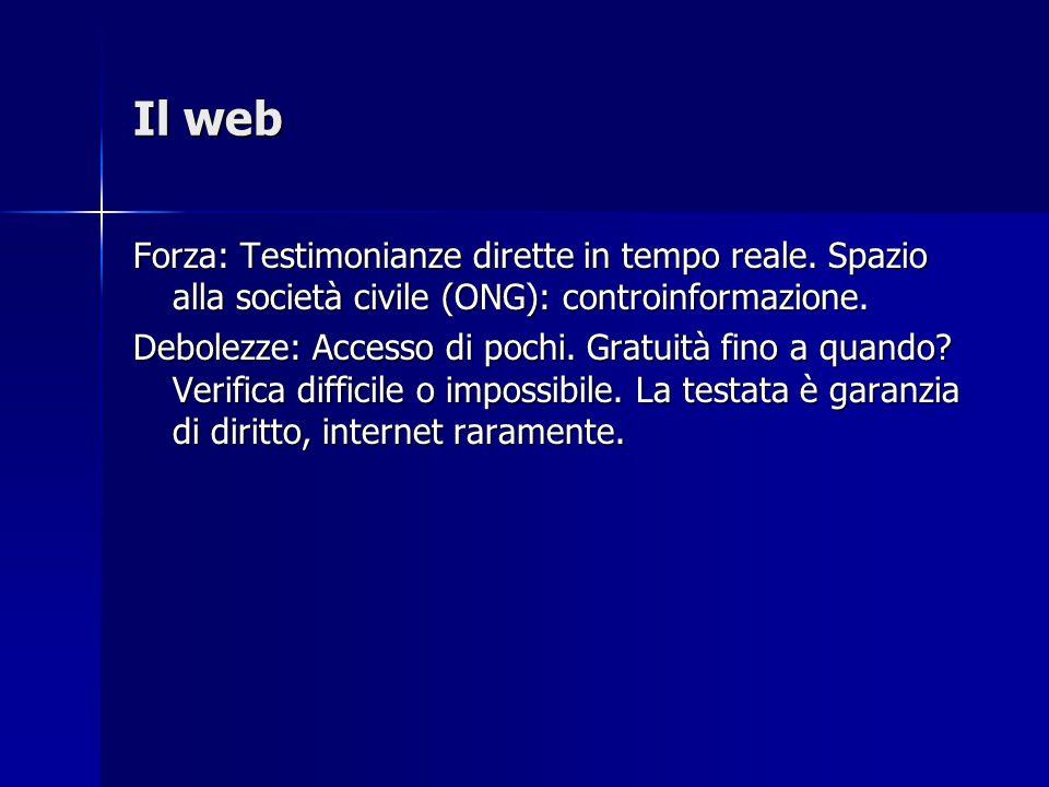 Il web Forza: Testimonianze dirette in tempo reale.
