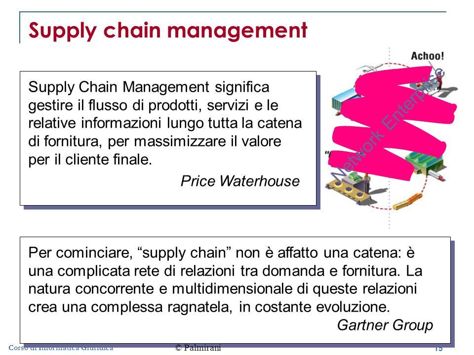 15 Corso di Informatica Giuridica Supply chain management Supply Chain Management significa gestire il flusso di prodotti, servizi e le relative informazioni lungo tutta la catena di fornitura, per massimizzare il valore per il cliente finale.