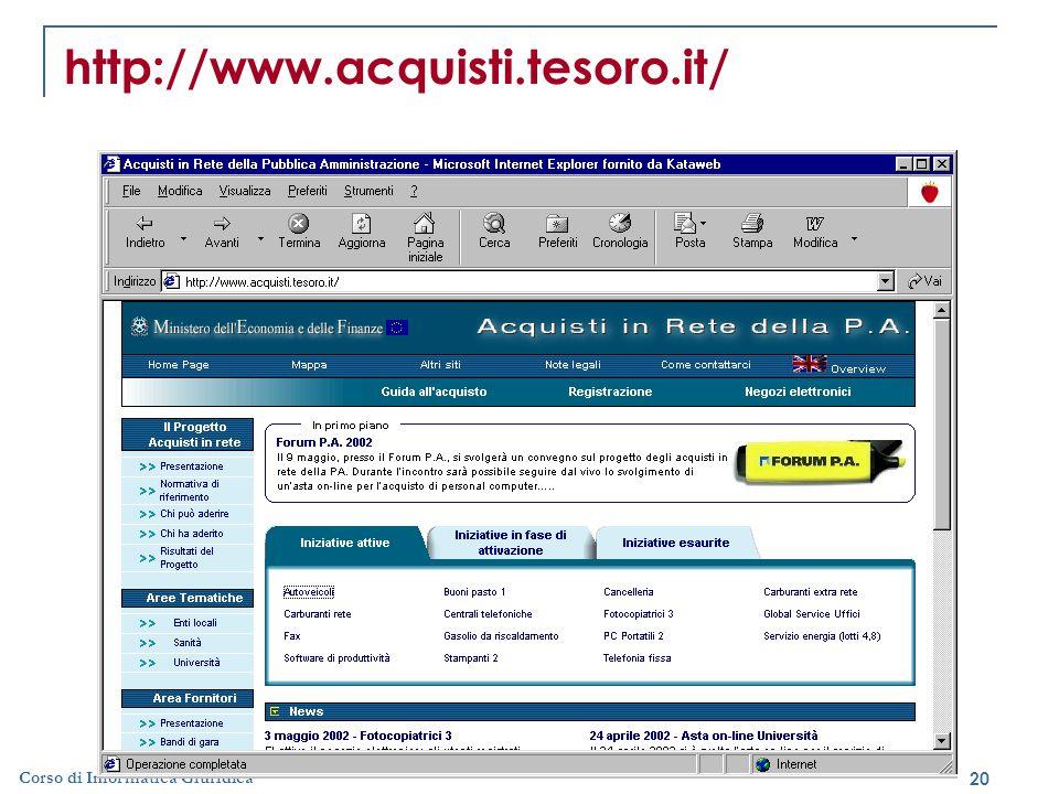 20 Corso di Informatica Giuridica http://www.acquisti.tesoro.it/
