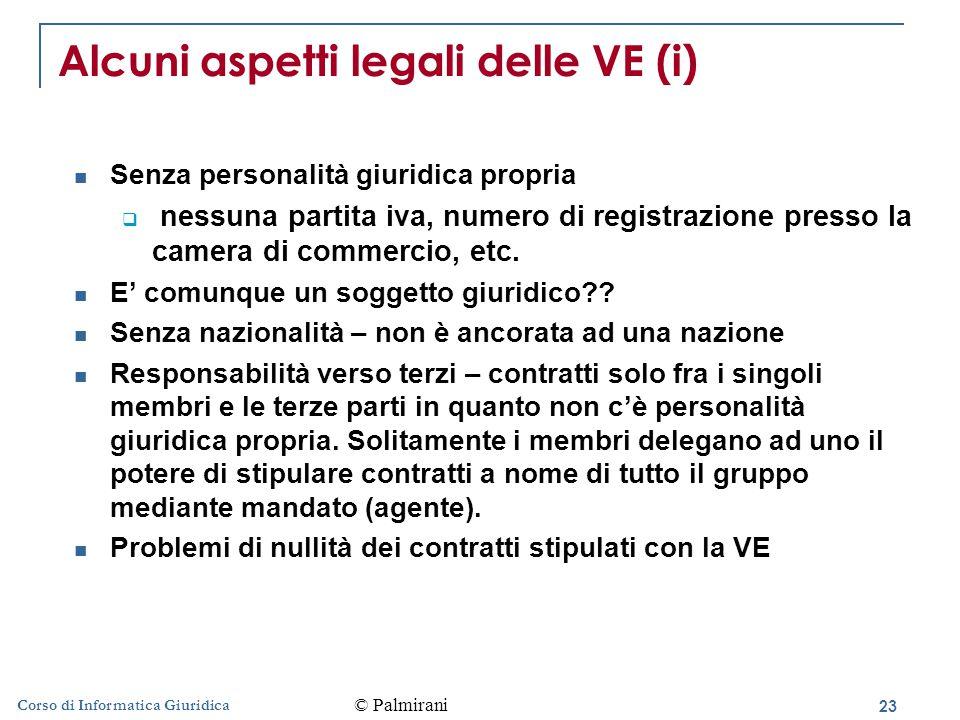 23 Corso di Informatica Giuridica Alcuni aspetti legali delle VE (i) Senza personalità giuridica propria  nessuna partita iva, numero di registrazione presso la camera di commercio, etc.