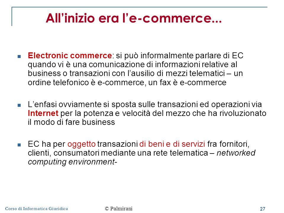 27 Corso di Informatica Giuridica All'inizio era l'e-commerce...