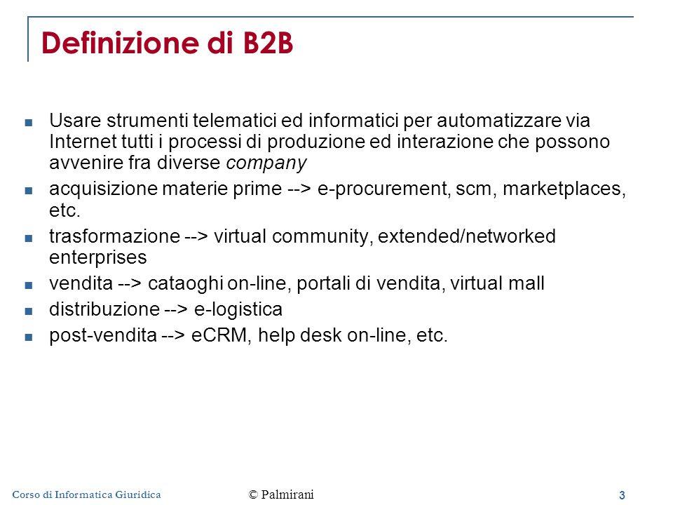 3 Corso di Informatica Giuridica Definizione di B2B Usare strumenti telematici ed informatici per automatizzare via Internet tutti i processi di produzione ed interazione che possono avvenire fra diverse company acquisizione materie prime --> e-procurement, scm, marketplaces, etc.