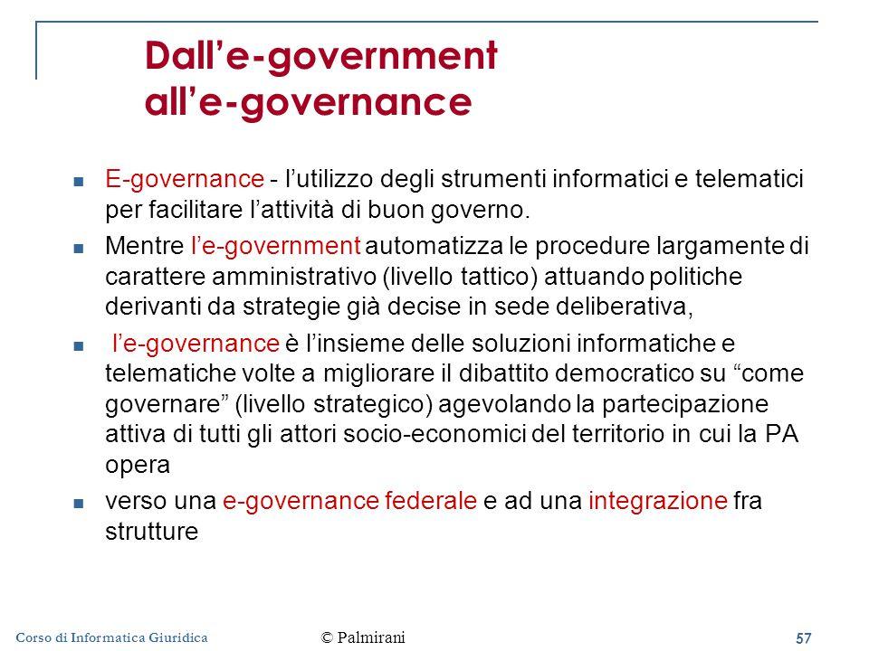 57 Corso di Informatica Giuridica Dall'e-government all'e-governance E-governance - l'utilizzo degli strumenti informatici e telematici per facilitare l'attività di buon governo.