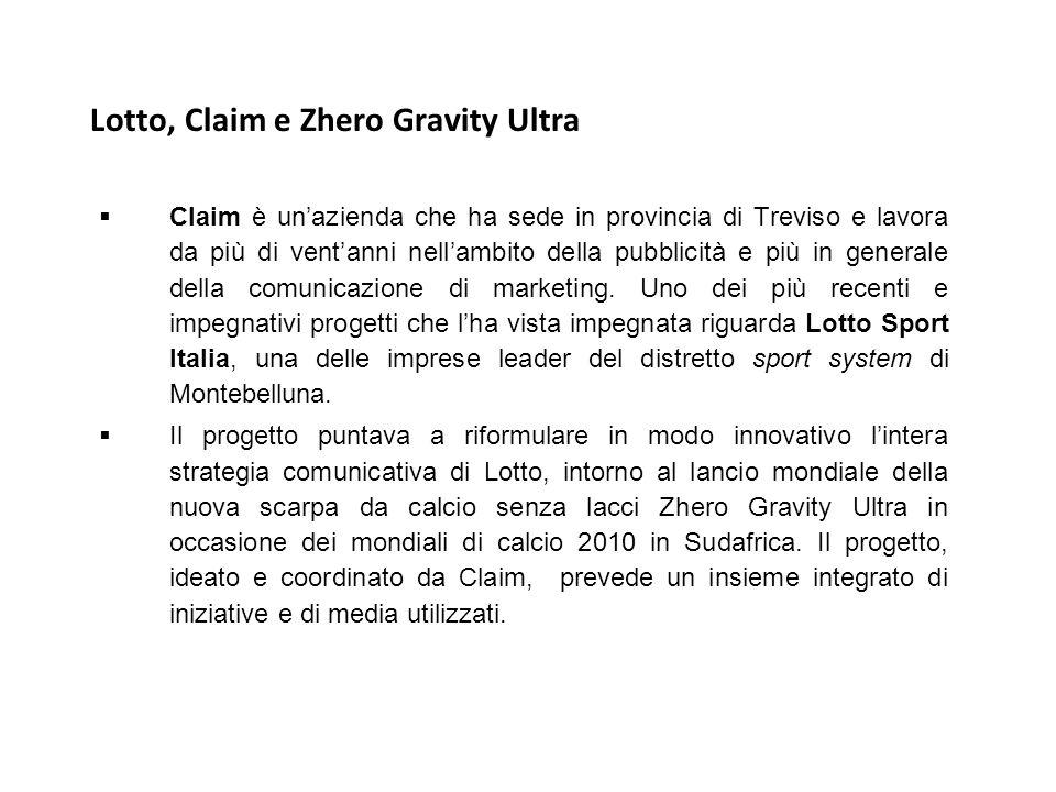 Lotto, Claim e Zhero Gravity Ultra  Claim è un'azienda che ha sede in provincia di Treviso e lavora da più di vent'anni nell'ambito della pubblicità