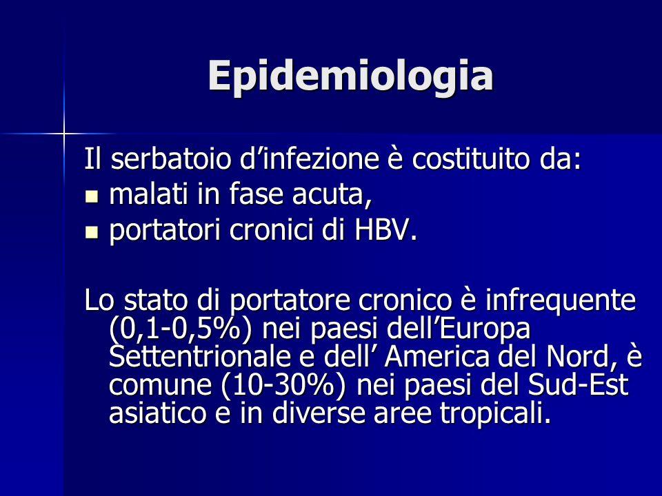 Epidemiologia Il serbatoio d'infezione è costituito da: malati in fase acuta, malati in fase acuta, portatori cronici di HBV. portatori cronici di HBV