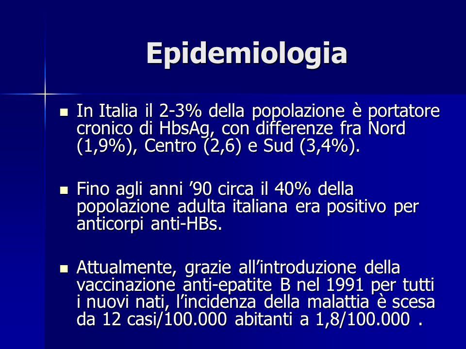 Epidemiologia In Italia il 2-3% della popolazione è portatore cronico di HbsAg, con differenze fra Nord (1,9%), Centro (2,6) e Sud (3,4%). In Italia i