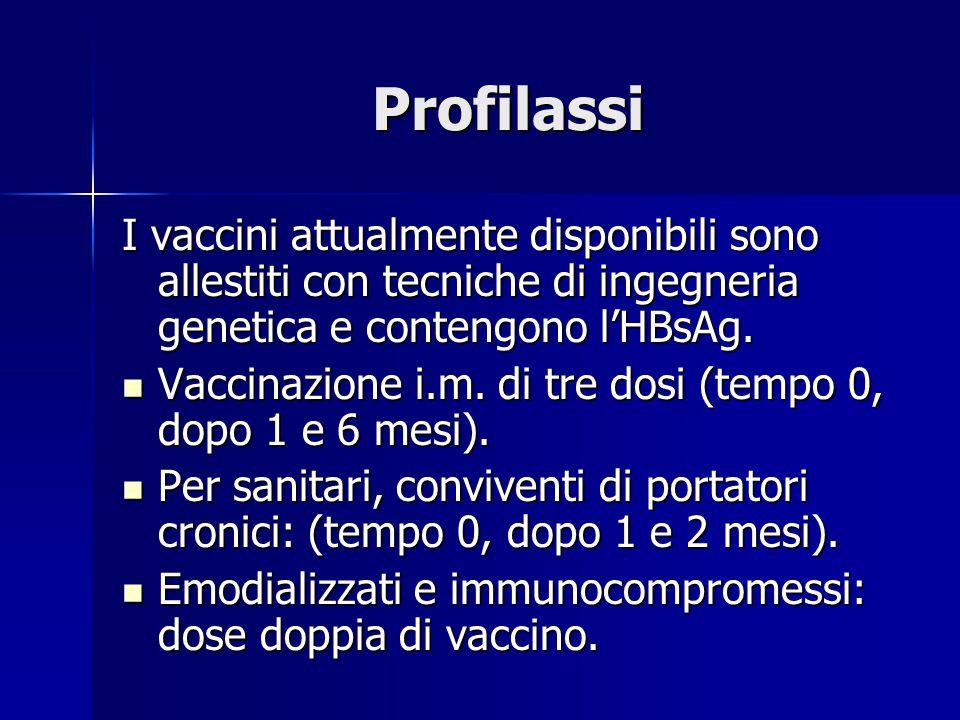 Profilassi I vaccini attualmente disponibili sono allestiti con tecniche di ingegneria genetica e contengono l'HBsAg. Vaccinazione i.m. di tre dosi (t