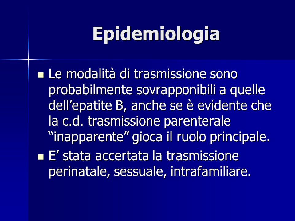Epidemiologia Le modalità di trasmissione sono probabilmente sovrapponibili a quelle dell'epatite B, anche se è evidente che la c.d. trasmissione pare