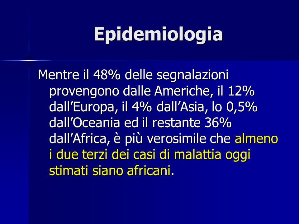 Epidemiologia Mentre il 48% delle segnalazioni provengono dalle Americhe, il 12% dall'Europa, il 4% dall'Asia, lo 0,5% dall'Oceania ed il restante 36%