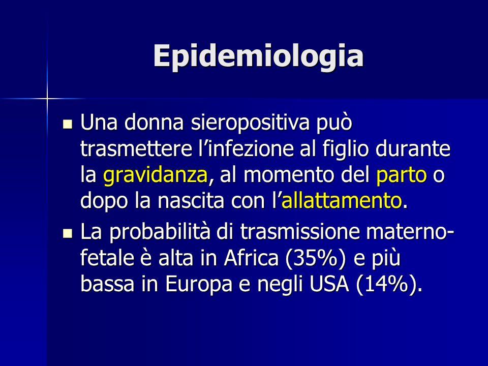 Epidemiologia Una donna sieropositiva può trasmettere l'infezione al figlio durante la gravidanza, al momento del parto o dopo la nascita con l'allatt