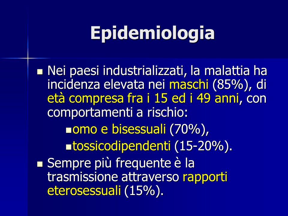 Epidemiologia Nei paesi industrializzati, la malattia ha incidenza elevata nei maschi (85%), di età compresa fra i 15 ed i 49 anni, con comportamenti