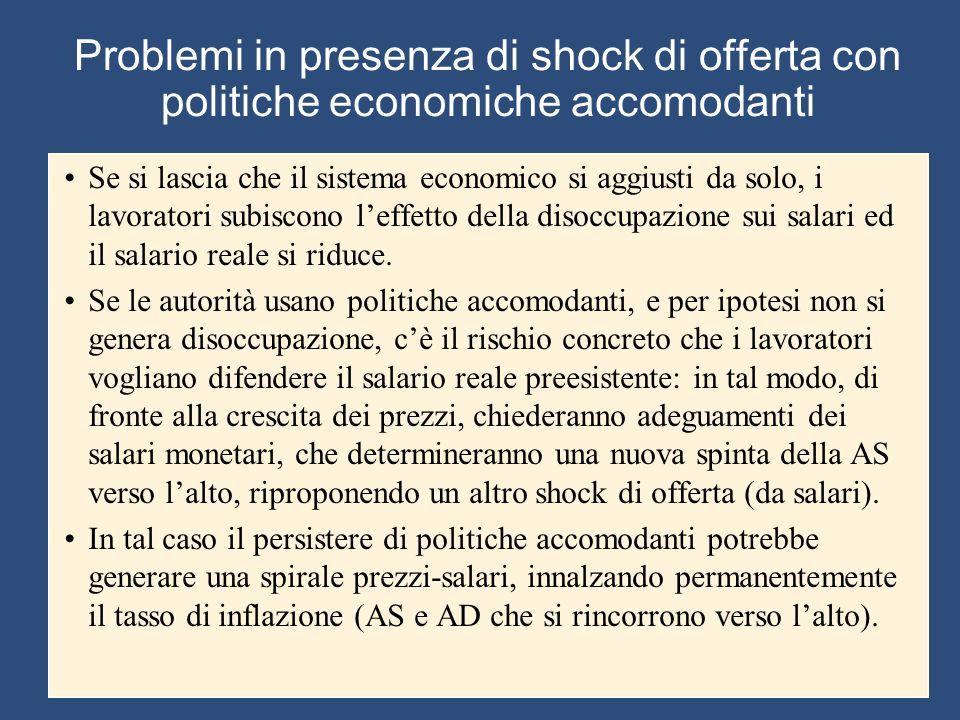 Problemi in presenza di shock di offerta con politiche economiche accomodanti Se si lascia che il sistema economico si aggiusti da solo, i lavoratori