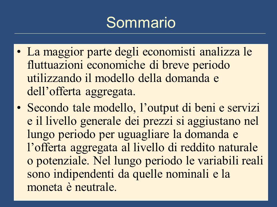 Sommario La maggior parte degli economisti analizza le fluttuazioni economiche di breve periodo utilizzando il modello della domanda e dell'offerta ag