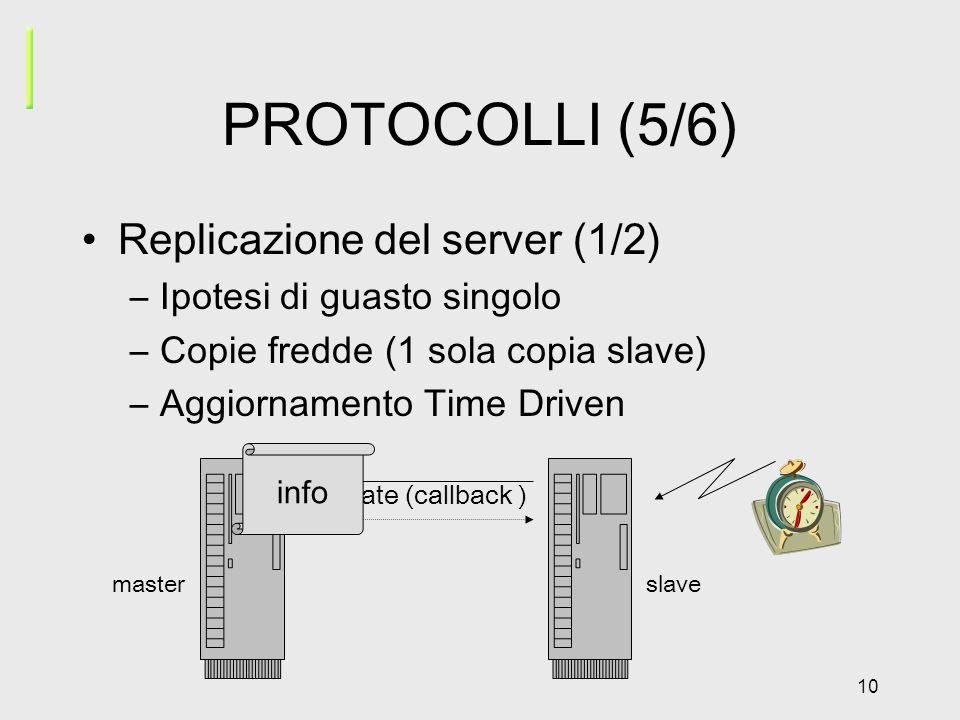 10 PROTOCOLLI (5/6) Replicazione del server (1/2) –Ipotesi di guasto singolo –Copie fredde (1 sola copia slave) –Aggiornamento Time Driven update (callback ) masterslave info