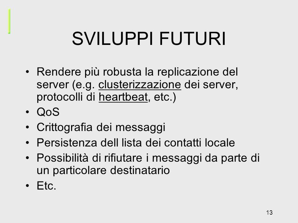 13 SVILUPPI FUTURI Rendere più robusta la replicazione del server (e.g.