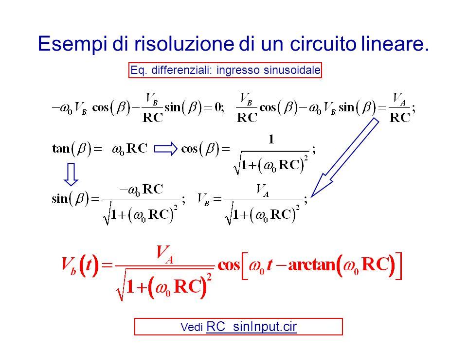 Esempi di risoluzione di un circuito lineare. Eq. differenziali: ingresso sinusoidale Vedi RC_sinInput.cir