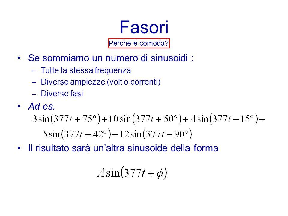 Fasori Perche è comoda? Se sommiamo un numero di sinusoidi : –Tutte la stessa frequenza –Diverse ampiezze (volt o correnti) –Diverse fasi Ad es. Il ri