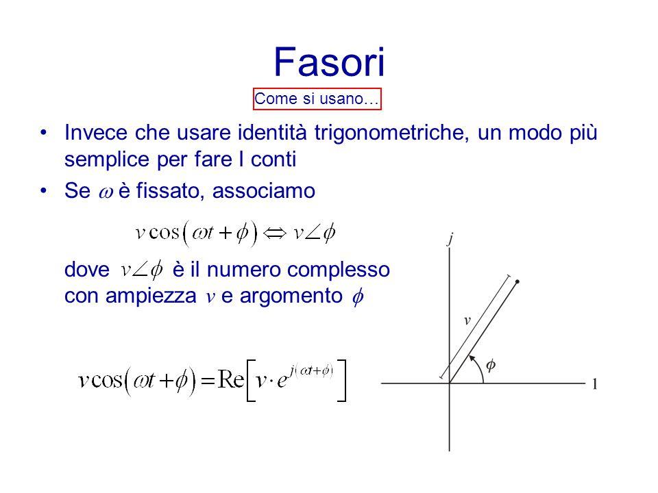 Fasori Come si usano… Invece che usare identità trigonometriche, un modo più semplice per fare I conti Se  è fissato, associamo dove è il numero complesso con ampiezza v e argomento 
