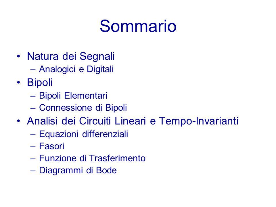 Sommario Natura dei Segnali –Analogici e Digitali Bipoli –Bipoli Elementari –Connessione di Bipoli Analisi dei Circuiti Lineari e Tempo-Invarianti –Eq