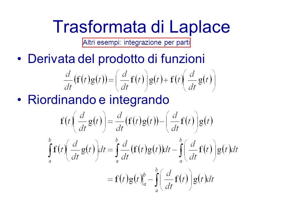 Trasformata di Laplace Altri esempi: integrazione per parti Derivata del prodotto di funzioni Riordinando e integrando