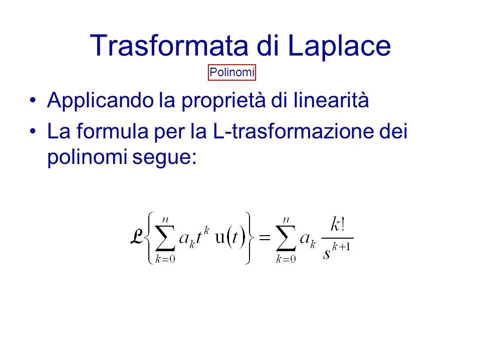 Trasformata di Laplace Polinomi Applicando la proprietà di linearità La formula per la L-trasformazione dei polinomi segue: