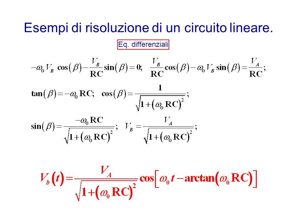 Esempi di risoluzione di un circuito lineare. Eq. differenziali