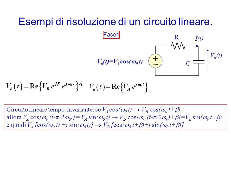 Esempi di risoluzione di un circuito lineare. Fasori Circuito lineare tempo-invariante: se V A cos(  0 t)  V B cos(  0 t+  ), allora V A cos[  0