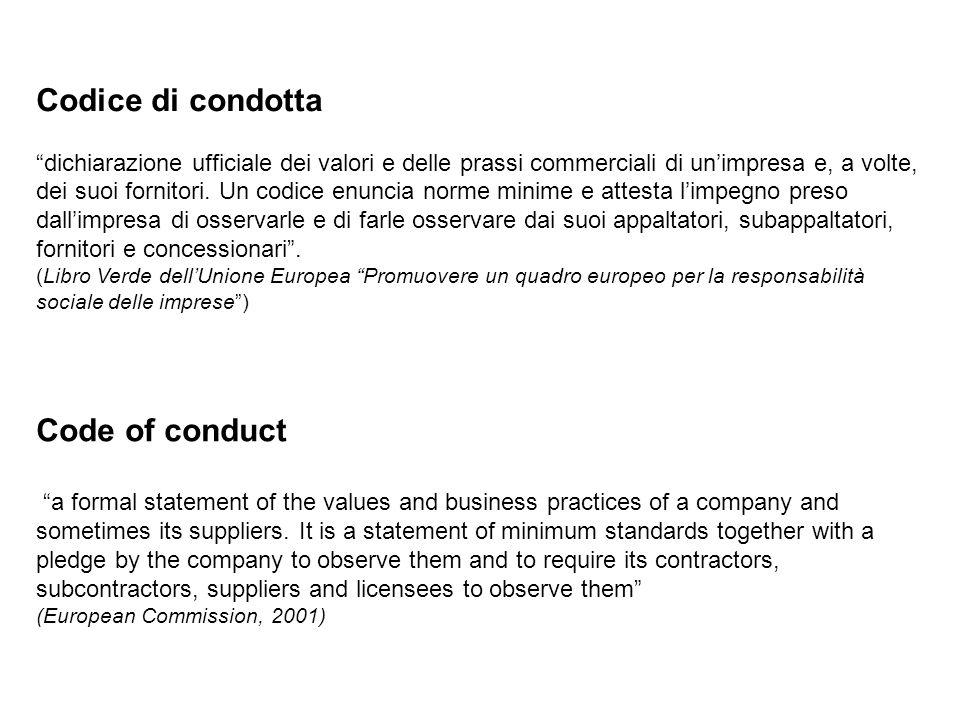 """Codice di condotta """"dichiarazione ufficiale dei valori e delle prassi commerciali di un'impresa e, a volte, dei suoi fornitori. Un codice enuncia norm"""