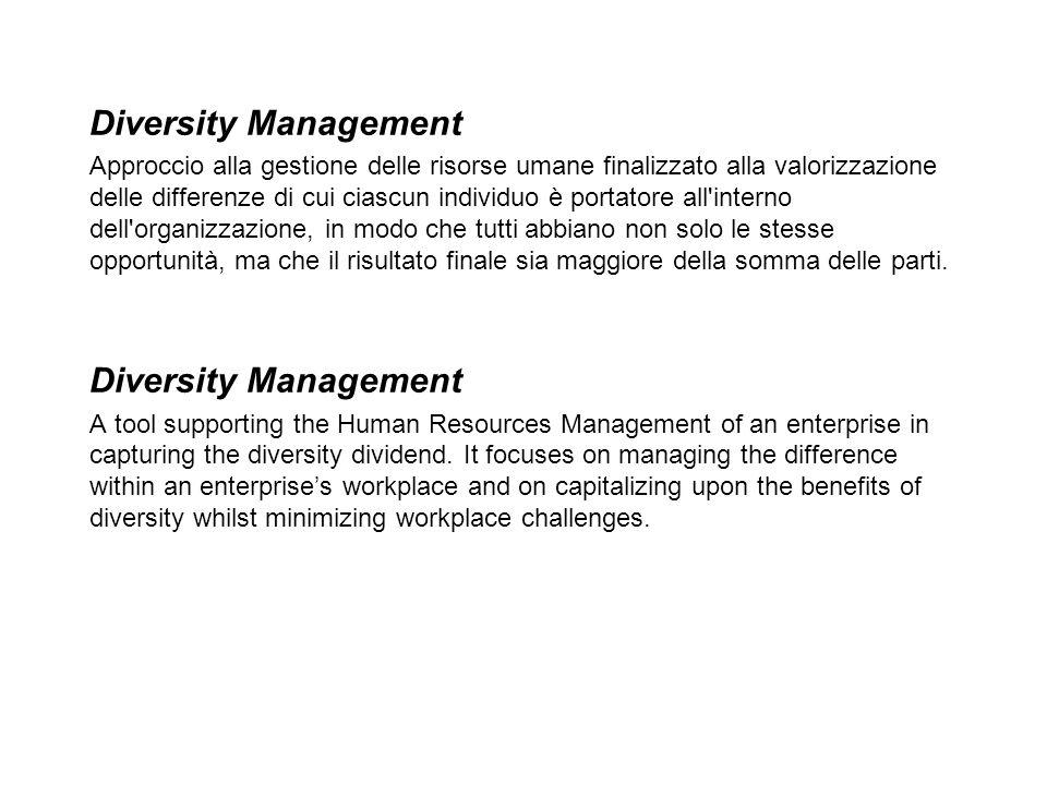 Diversity Management Approccio alla gestione delle risorse umane finalizzato alla valorizzazione delle differenze di cui ciascun individuo è portatore