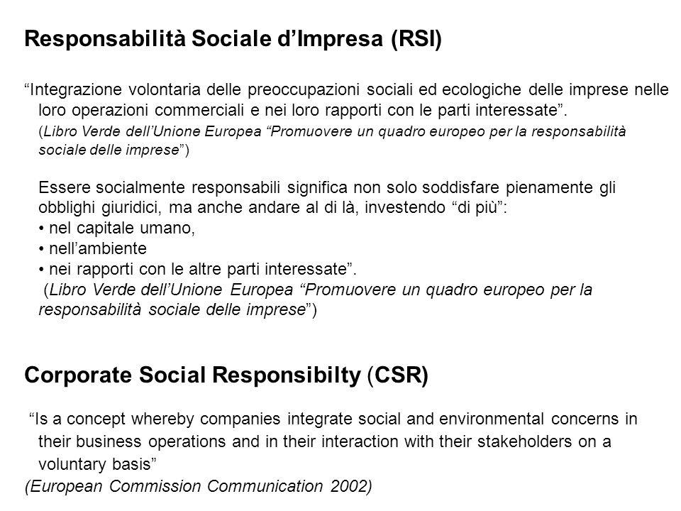 """Responsabilità Sociale d'Impresa (RSI) """"Integrazione volontaria delle preoccupazioni sociali ed ecologiche delle imprese nelle loro operazioni commerc"""