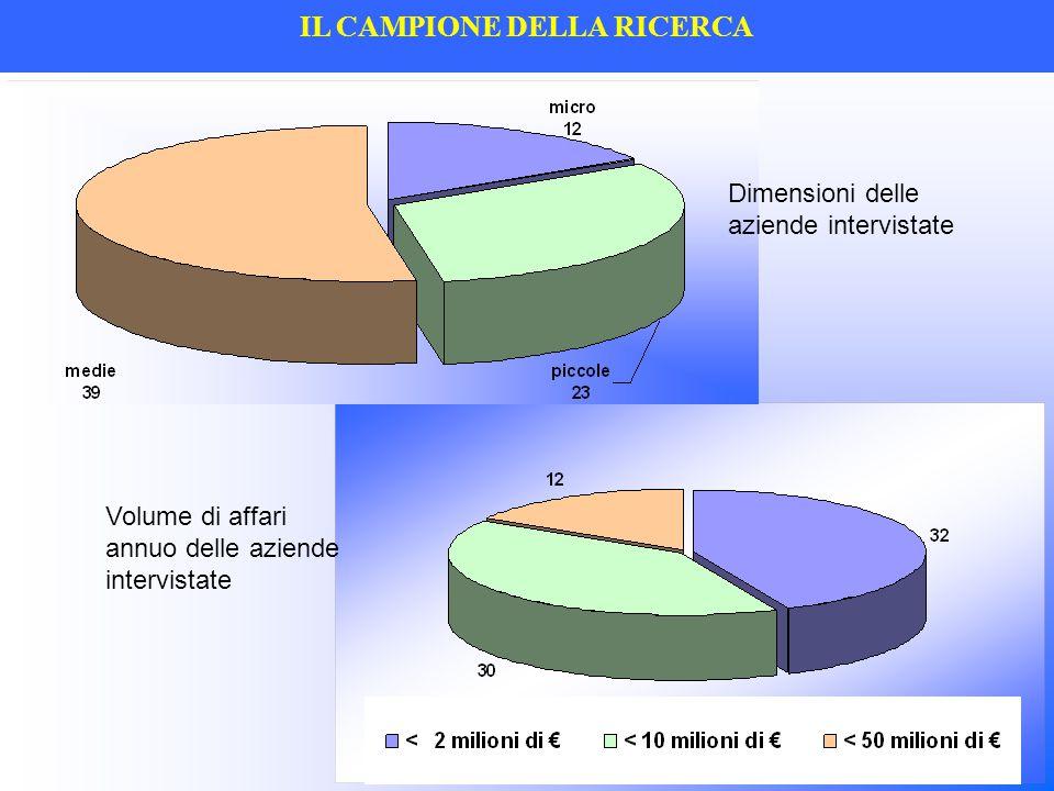 IL CAMPIONE DELLA RICERCA Dimensioni delle aziende intervistate Volume di affari annuo delle aziende intervistate