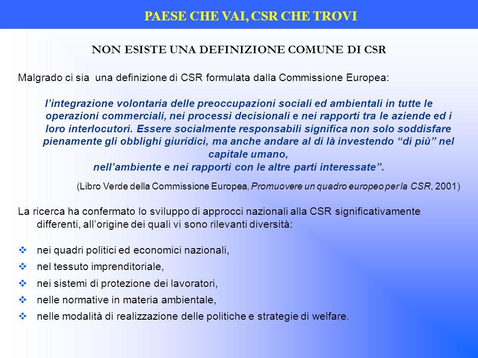 NON ESISTE UNA DEFINIZIONE COMUNE DI CSR Malgrado ci sia una definizione di CSR formulata dalla Commissione Europea: l'integrazione volontaria delle p