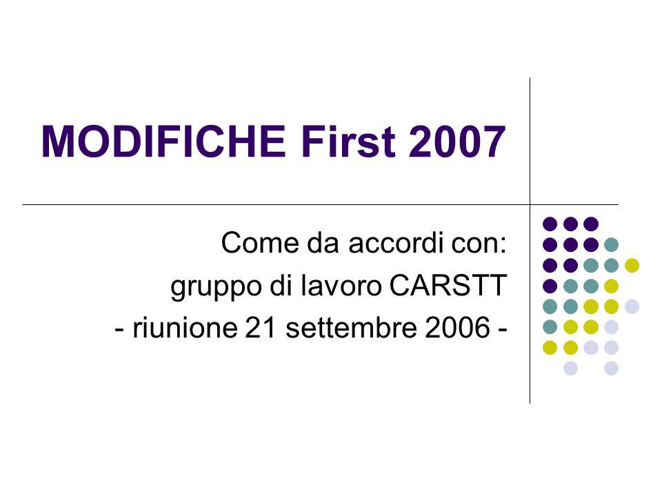MODIFICHE First 2007 Come da accordi con: gruppo di lavoro CARSTT - riunione 21 settembre 2006 -