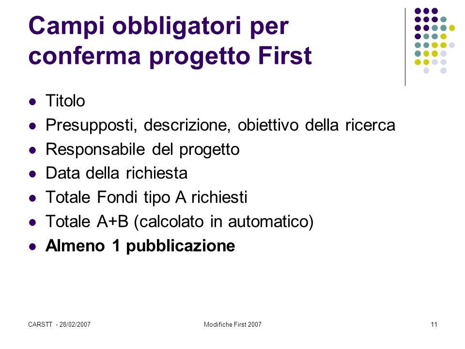 CARSTT - 28/02/2007Modifiche First 200711 Campi obbligatori per conferma progetto First Titolo Presupposti, descrizione, obiettivo della ricerca Respo