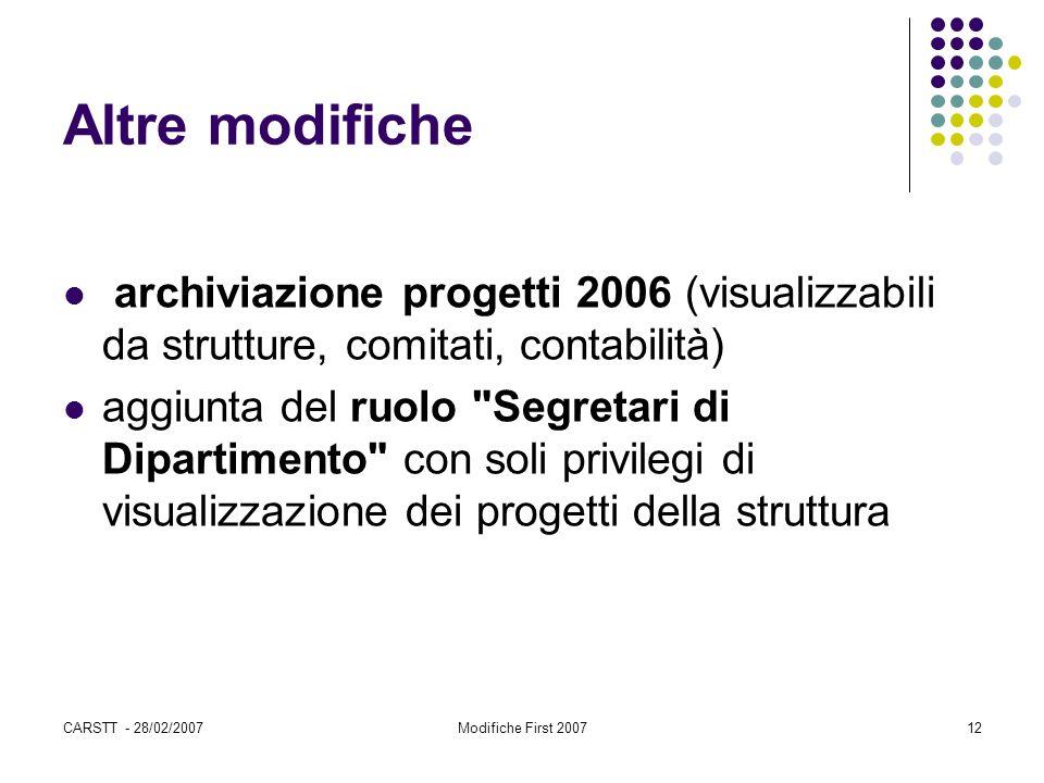 CARSTT - 28/02/2007Modifiche First 200712 Altre modifiche archiviazione progetti 2006 (visualizzabili da strutture, comitati, contabilità) aggiunta de