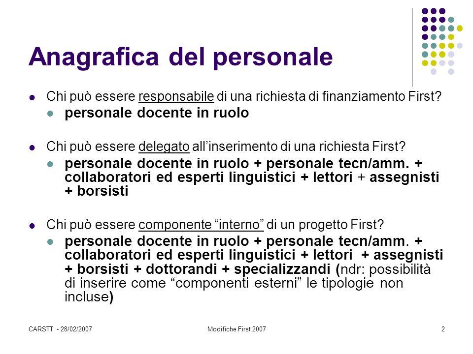CARSTT - 28/02/2007Modifiche First 20072 Anagrafica del personale Chi può essere responsabile di una richiesta di finanziamento First? personale docen
