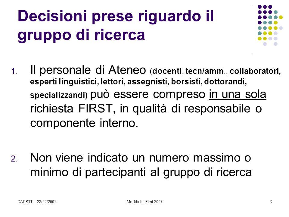 CARSTT - 28/02/2007Modifiche First 20073 Decisioni prese riguardo il gruppo di ricerca 1. Il personale di Ateneo (docenti, tecn/amm., collaboratori, e