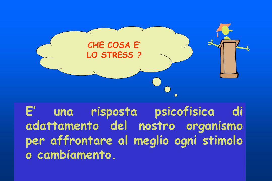 E' una risposta psicofisica di adattamento del nostro organismo per affrontare al meglio ogni stimolo o cambiamento. CHE COSA E' LO STRESS ?
