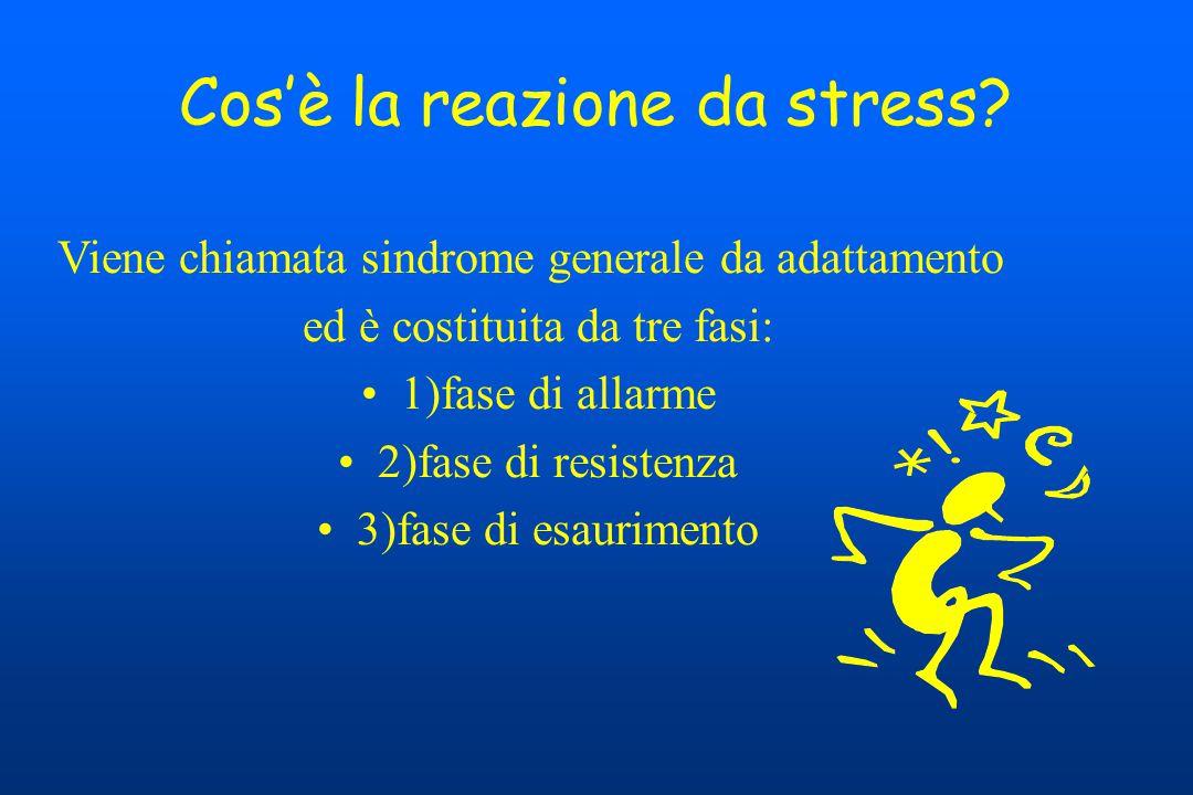 Cos'è la reazione da stress? Viene chiamata sindrome generale da adattamento ed è costituita da tre fasi: 1)fase di allarme 2)fase di resistenza 3)fas
