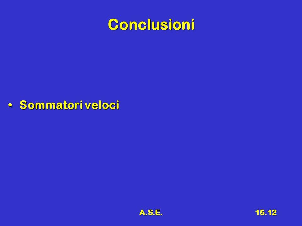A.S.E.15.12 Conclusioni Sommatori velociSommatori veloci