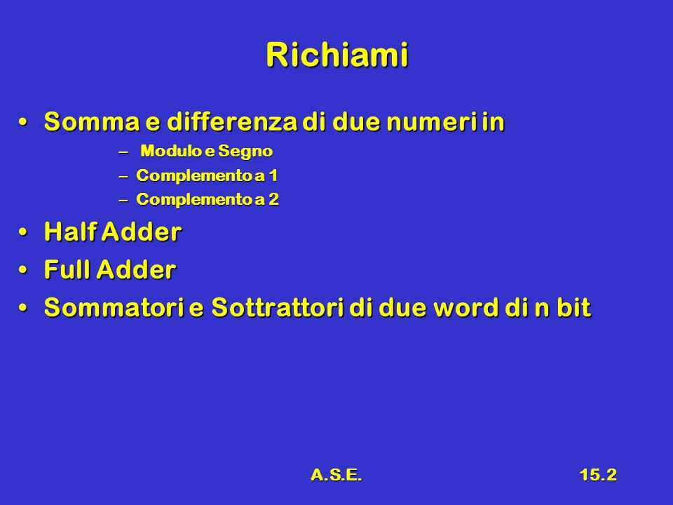 A.S.E.15.2 Richiami Somma e differenza di due numeri inSomma e differenza di due numeri in – Modulo e Segno –Complemento a 1 –Complemento a 2 Half Add