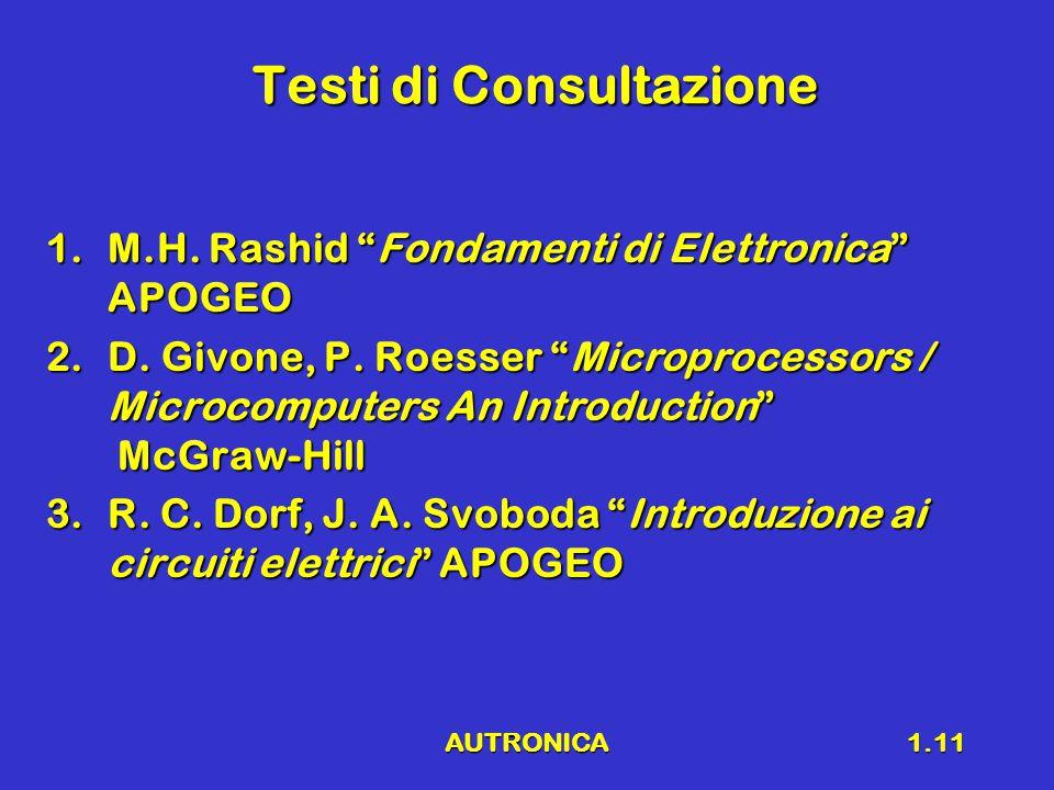 AUTRONICA1.11 Testi di Consultazione 1.M.H. Rashid Fondamenti di Elettronica APOGEO 2.D.