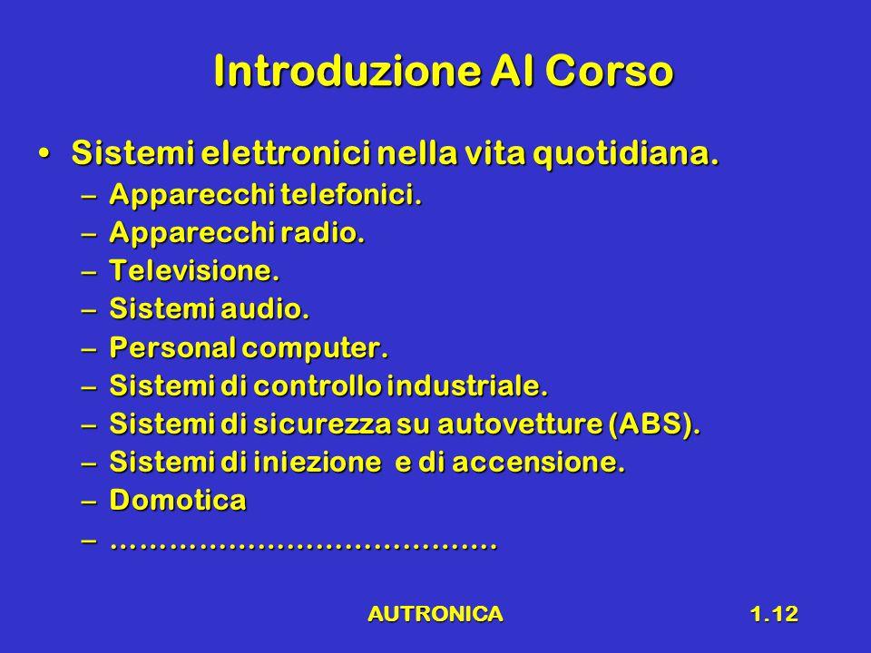 AUTRONICA1.12 Introduzione Al Corso Sistemi elettronici nella vita quotidiana.Sistemi elettronici nella vita quotidiana.