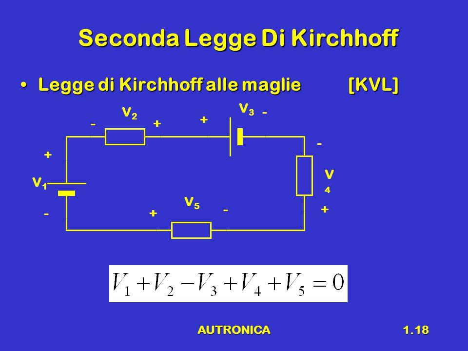 AUTRONICA1.18 Seconda Legge Di Kirchhoff Legge di Kirchhoff alle maglie[KVL]Legge di Kirchhoff alle maglie[KVL] V1V1 V2V2 V3V3 V4V4 V5V5 + - + + + + - - - -