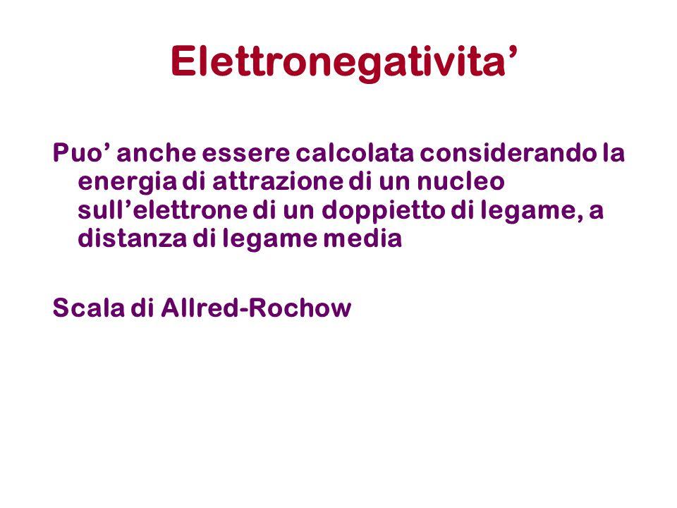 Elettronegativita' Puo' anche essere calcolata considerando la energia di attrazione di un nucleo sull'elettrone di un doppietto di legame, a distanza