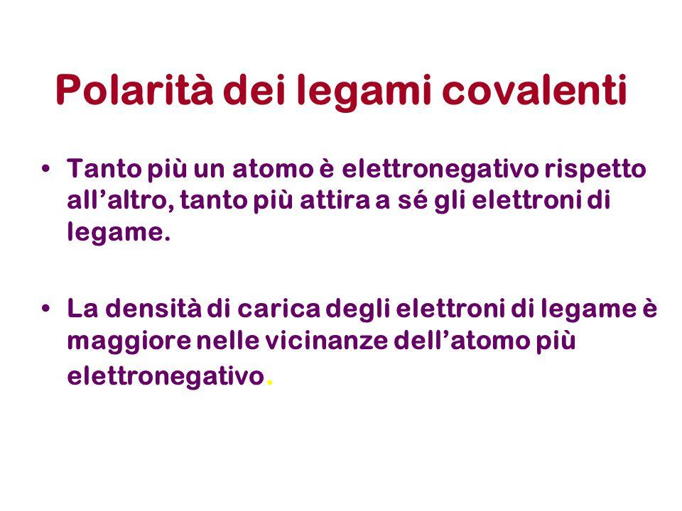 Polarità dei legami covalenti Tanto più un atomo è elettronegativo rispetto all'altro, tanto più attira a sé gli elettroni di legame. La densità di ca