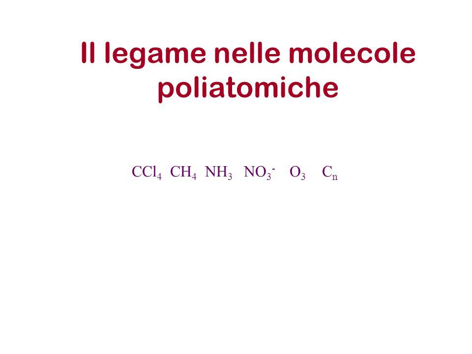 Il legame nelle molecole poliatomiche CCl 4 CH 4 NH 3 NO 3 - O 3 C n