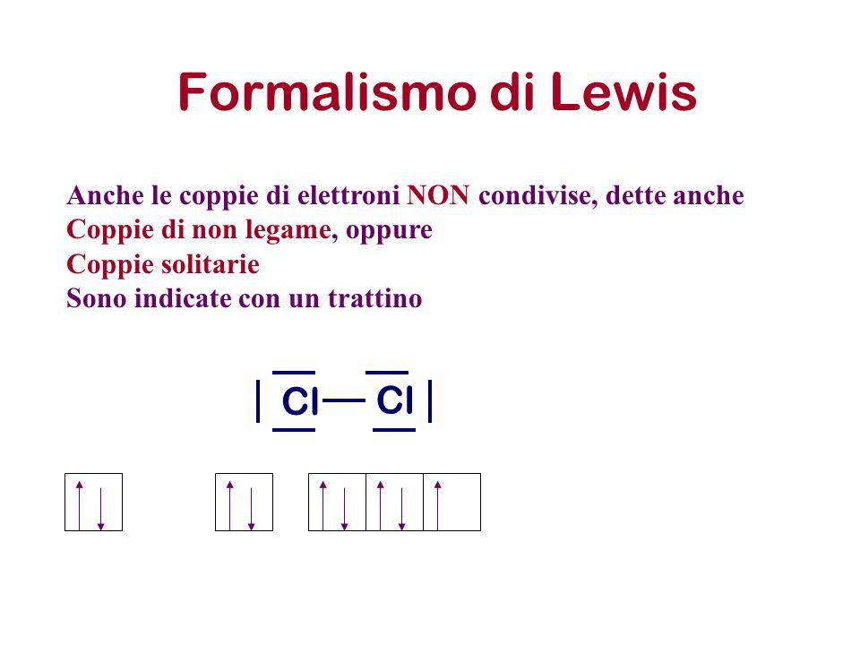 Formalismo di Lewis Anche le coppie di elettroni NON condivise, dette anche Coppie di non legame, oppure Coppie solitarie Sono indicate con un trattin